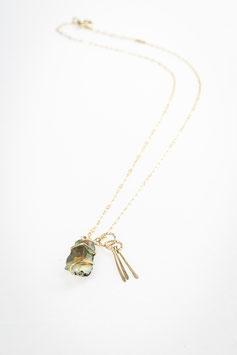 Combinaison collier 26 chaine fine gold filled avec pendentif opale sertie sur gold filled 27 et pendentif rayon 28 60 cm