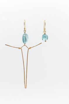 Gold filled 7cm earring l'homme libre and fluorite