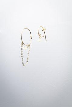 17 Créole à la ligne opale boucles d'oreille goldfilled 5,5cm
