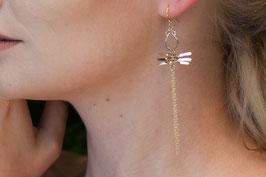LK3104or boucle d'oreille gold filled tourmaline verte symétrique libellule
