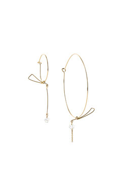 lk3239 : Gold Filled Earrings (14K gold plated on copper), Asymmetrical Large and Small Hoops with Saber in Balance, Herkimer Quartz Diamond, 7cm (2,75 inches)