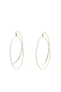 LK3230 Boucles d'oreilles en gold filled (or 14 carats plaqué sur cuivre) symétrique ovale avec long crochet courbe qui revient sous l'oreille 6cm