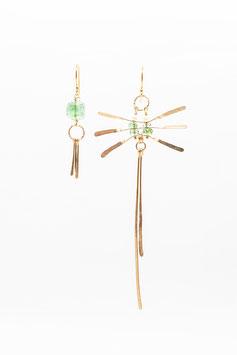 Boucles d'oreilles Libellule tourmaline paraiba et perle blanche  gold filled 14K  7,5cm