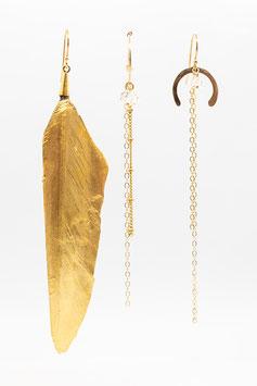 Trio à la plume d'or boucles d'oreilles asymétriques gold filled et quartz diamant herkmer 7,5cm