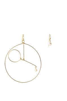 La grande Balance à la perle Boucles d'oreilles assymétrique Gold filled 14K et perle blanche 7cm