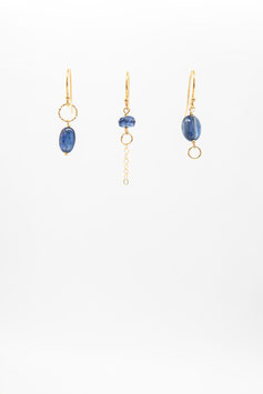 Boucles d'oreille trio cyanite bleue gold filled 1,5cm earring bleue cyanite gold flled