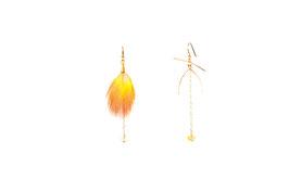 LK3079or Boucles d'oreilles en gold filled ( or 14 carats plaqué sur cuivre)mini motif JOY citrines, plumes. 6cm