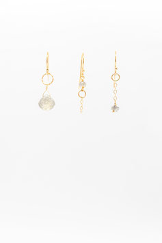 Boucles d'oreille trio labradorite gold filled 1,5cm