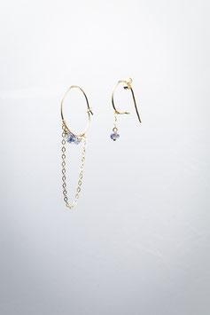 18 Créole à la ligne saphir boucles d'oreille goldfilled 5,5cm
