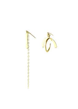 NEW! lk3149or Boucles d'oreilles en gold filled ( or 14 carats plaqué sur cuivre)  mini globe et mini Tige et chainette  asymétrique   6cm