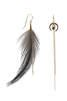 Plume sombre//Dark feather  gold filled black pearl quartz diamant Herkmer