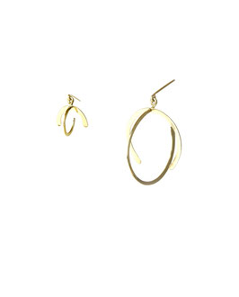 lk3137or Boucles d'oreilles en gold filled ( or 14 carats plaqué sur cuivre) mini globe et grand globe asymétriques 4cm