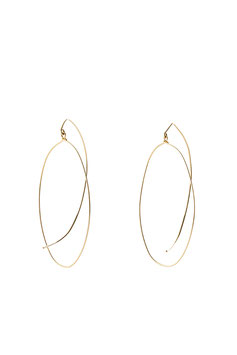 lk3230 : Gold Filled Earrings (14K gold plated on copper), Symmetrical Oval with Long Curved Hook that Comes Back Under the Ear, 6cm (2,36 inches)