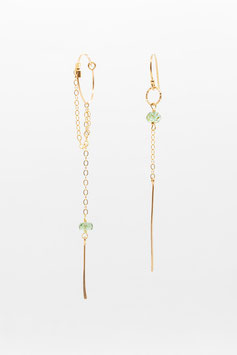 Boucles d'oreilles petites créoles asymétriques gold filled  tourmaline paraiba 6cm