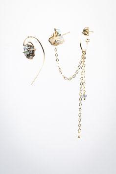 11 spartiate opale et clou opale boucles 2 trous goldfilled 5,5cm