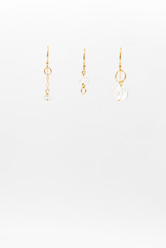 Quartz Diamant Herkmer Gold filled 1,5cm earring trio