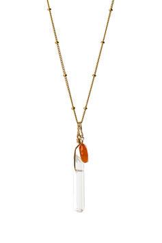 NEW! LK3208or Collier en chaine perlée Gold filled avec un pendentif en cristal de roche et une cornaline  longueur à sélectionner