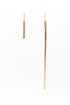 Boucles d'oreilles petite et longue barres gold filled 7cm