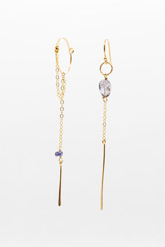 Gold filled  iolite 6cm creole