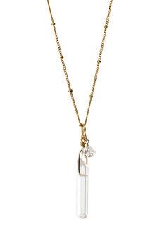 NEW! LK3208di Collier en chaine perlée Gold filled avec un pendentif en cristal de roche et un quartz diamant herkimer longueur à sélectionner