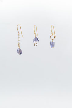 Gold filled 1,5cm trio earring iolite