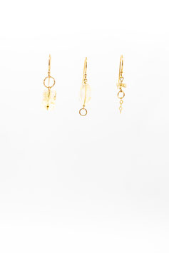 Boucles d'oreilles trio citrines gold filled 1,5cm