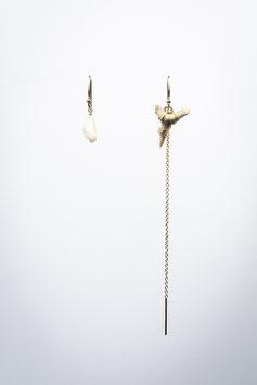 23 boucles d'oreille dent de Requin fossilisée chainette opale lune boucle pour 2 trous