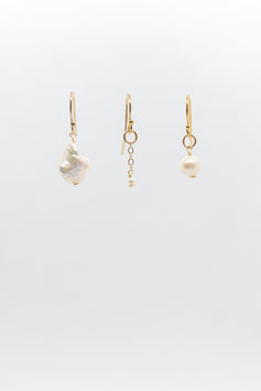 Boucles d'oreille trio perle blanche et gold filled 1,5cm