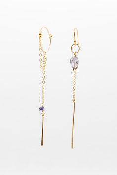 Boucles d'oreilles petites créoles asymétriques gold filled  iolite 6cm