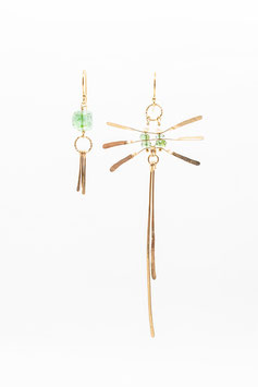 Gold filled 14K  7,5cm dragon fly earring paraiba tourmaline and clear pearls