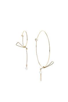 NEW! LK3239 Boucles d'oreilles en gold filled ( or 14 carats plaqué sur cuivre)  asymétrique grande et petite créole avec sabre en équilibre et quartz diamant herkimer 7cm