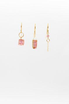 Boucles d 'oreilles trio quartz straberry et tourmaline rosée avec inclusion verte gold filled 1,5cm