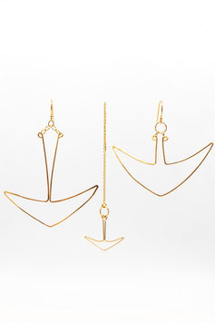 Trio boucles d'oreilles gold filled Ancre 7,5cm Trio earrings Anchor