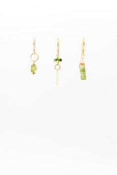 Boucles d 'oreilles trio tourmaline verte gold filled 1,5cm