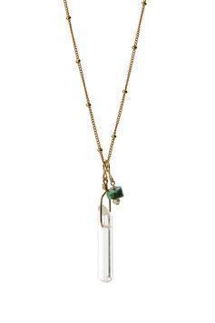 NEW! LK3208tu Collier en chaine perlée Gold filled avec un pendentif en cristal de roche et une magnésite  longueur à sélectionner