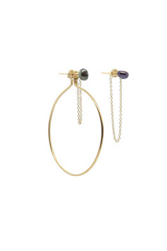 Arc à Flèches // Bow and arrow gold filled and black pearls earrings
