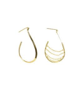 NEW! lk3155or Boucles d'oreilles en gold filled ( or 14 carats plaqué sur cuivre) Oval ouvert et oval ouvert enchainé asymétrique   6cm