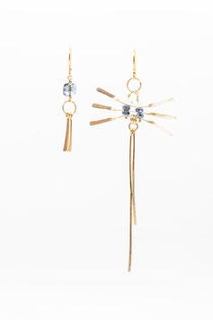 Boucles d'oreilles Libellule marine tourmaline et saphirs bleu marine et quartz diamant herkmer  gold filled 14K  7,5cm