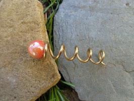 """""""Kugeltraum"""" Spiralstab mit feuriger (gelb, orange, roter) Kugel 7,5cm Messing"""