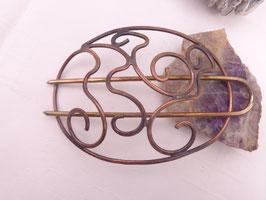 """"""" Art Nouveau Spange"""" Duttspange Kupfer mit Antikfinish B-Ware 11cm"""