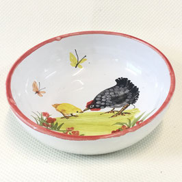Coupelle enfant Poule. Shallow dish with a chicken.