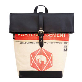 Elephbo Recycling Rucksack (Rolltop) - Red Elephant