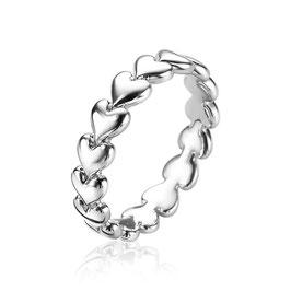 Zilveren met Ring Hartjes Rondom