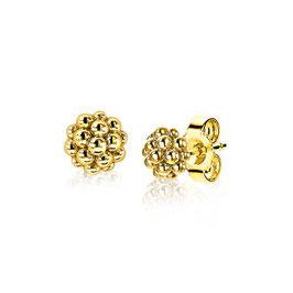 Zilveren ronde oorknoppen geel verguld met bolletjes