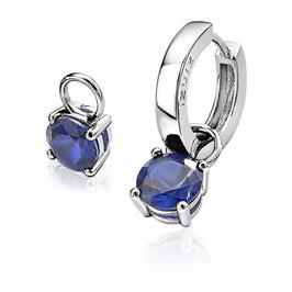 Zilveren oorbedels met donkerblauwe chaton gezette kleurstenen