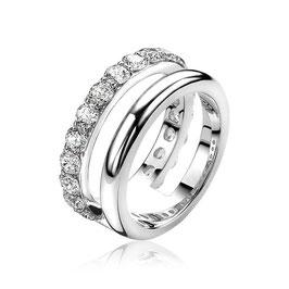 Zilveren Duo Ring met Witte Zirkonia's