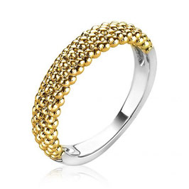 Zilveren Ring met Geel Vergulde Bolletjes