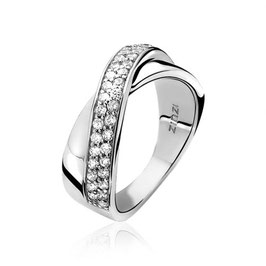 Zilveren Ring met Kruislings Zirkonia's