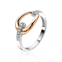 Zilveren Ring Rosé Vergulde Druppel met Witte Zirkonia's