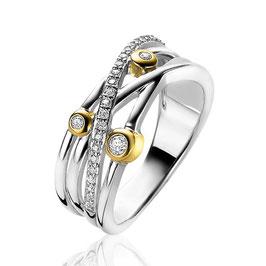 Zilveren Luxe Bicolor Cross-Over Ring